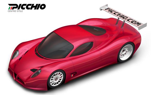 Picchio Daytona Prototype con liverea dell'Alfa 8c