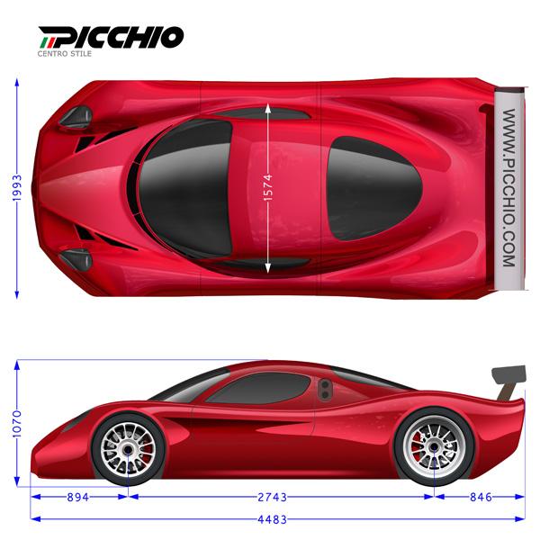 Picchio Daytona Prototype con livrea Alfa 8c pianta e prospetto laterale