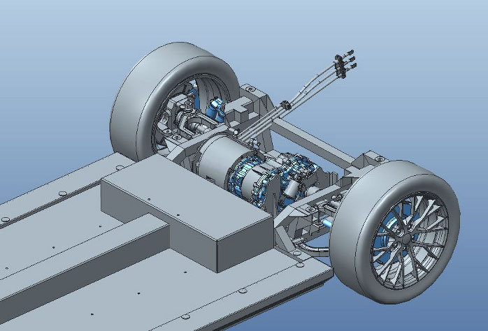 Detail of the rear axle with powertrain